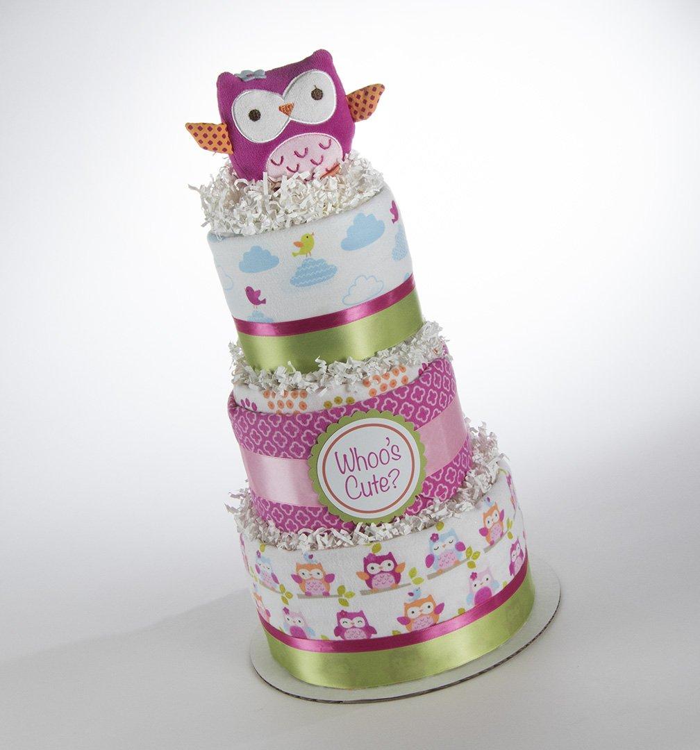 Look ''Whoo's Cute?'' Owl Theme Three Tier Diaper Cake.