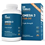 Dr. Tobias Omega 3 Fish Oil Supplement Triple Strength, 2,000 mg, Burpless, Non-GMO, NSF-Certified (180 Softgels / 90 Day Sup
