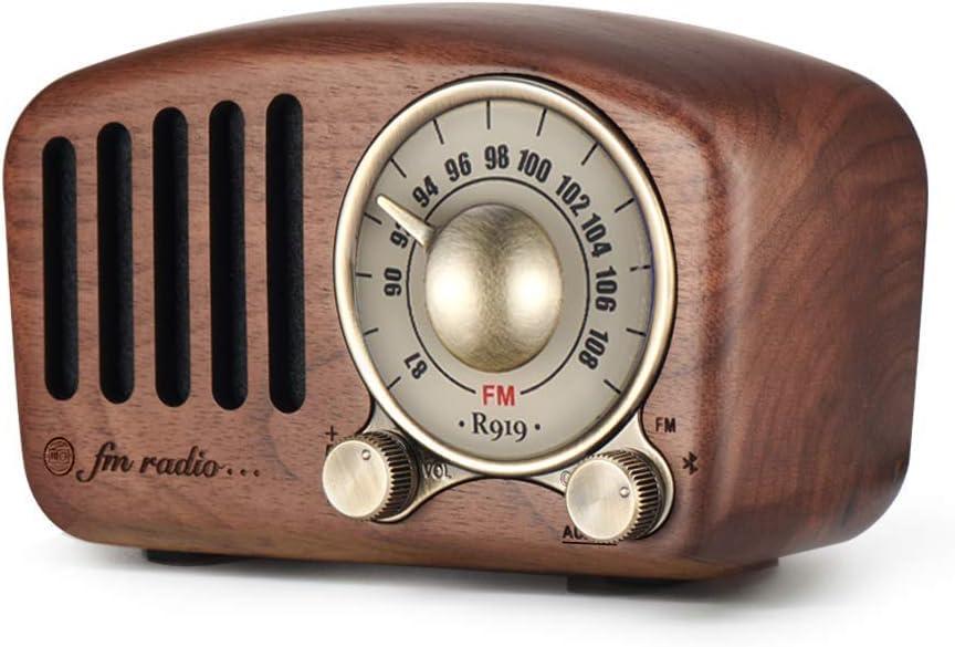 Radio portátil Vintage, Altavoz Bluetooth Retro, Radio FM de Nogal de Madera con Radio Mini de Estilo clásico, Bluetooth 4.2, Tarjeta AUX TF y Reproductor de MP3