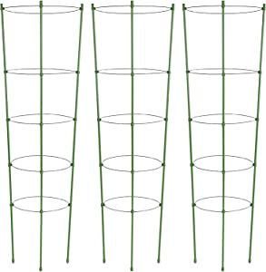 ZJIA 3 Pack Plant Support Cages 60 Inches Tomato Cages and Supports with 5 Adjustable Rings