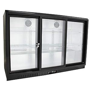 """54"""" Wide Sliding 3 Door Back Bar Beverage Cooler, Counter Height Refrigerator with Glass Doors"""