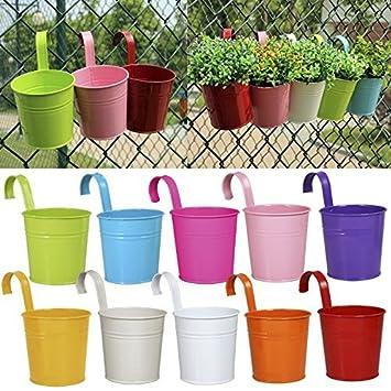 10 X Metal Iron Flower Pot Vase Hanging Balcony Garden Planter Home Decor