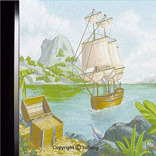 12x24 inch Decorative Static Cling Frosted Privacy Window Film,Exotic Seacoast with Chest Full of Gold Old Vessel Tropic Nature Wealth Landscape Glass film for Window Glass Panels,UV Protection,Energy (Golden Sunset Glass Vessel)