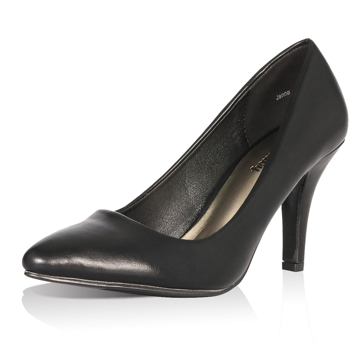 Yeviavy Women's Pumps Shoes High Heel Pointed Toe Dress Fashion Shoes Black/Pewter PU 8.5 by Yeviavy (Image #4)