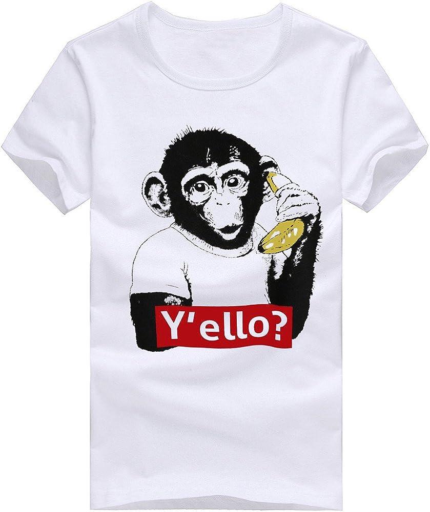VPASS Camiseta Hombre Verano Manga Corta Camisetas Varios Modelos Impresi/ón Moda Diario Slim Fit Casual T-Shirt Blusas Camisas Camiseta de Cuello Redondo Suave b/ásica Camiseta Blanco
