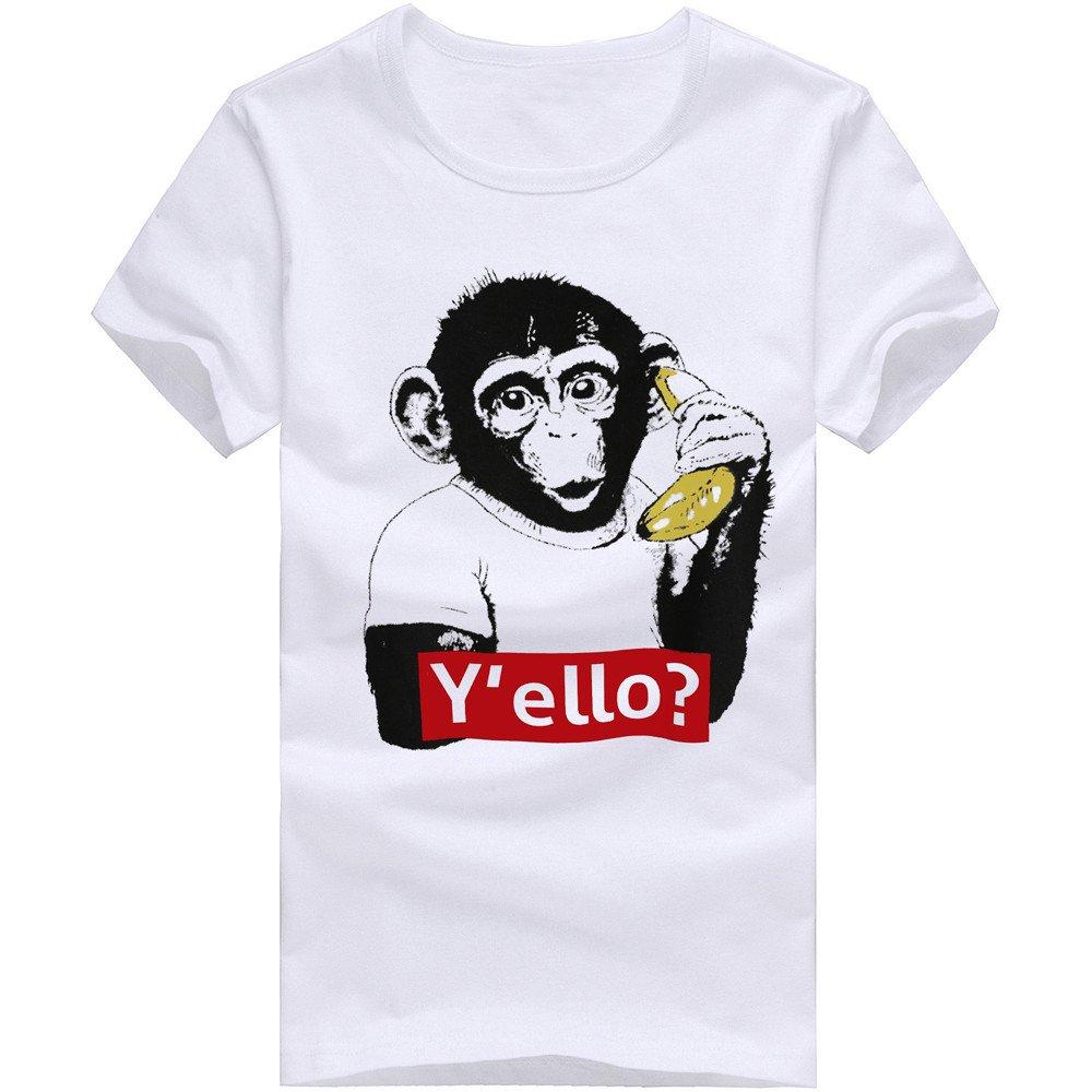 Fxbar,Men's Short-Sleeve Printed Shirt Monkey Graphic Tee Shirts Mens(White,S)