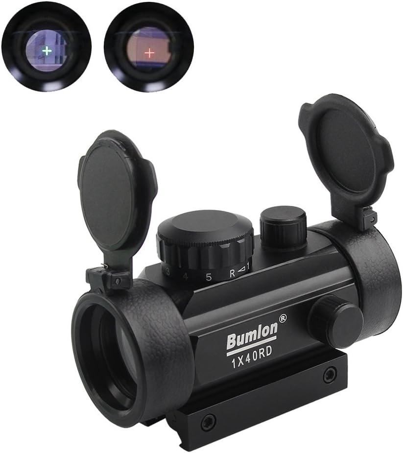 Bumlon Rojo Verde Punto de la Vista del Alcance del Rifle Reflex holográfica óptica táctico Fits Rail 11mm / 20mm con Levante la Cubierta de Lente de Arma de Airsoft