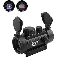 Bumlon Rot Grün Dot Sight Zielfernrohr Reflex Holographische Optik Taktische Passt 11mm/20mm Schiene mit Flip up Objektivdeckel für Airsoft Gun