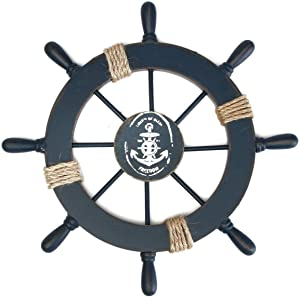 VOSAREA Ship Wheel Wall Decor Nautical Beach Wooden Boat Ship Steering Wheel Rudder Hanging Ornament for Home Holiday Christmas (Dark Blue)