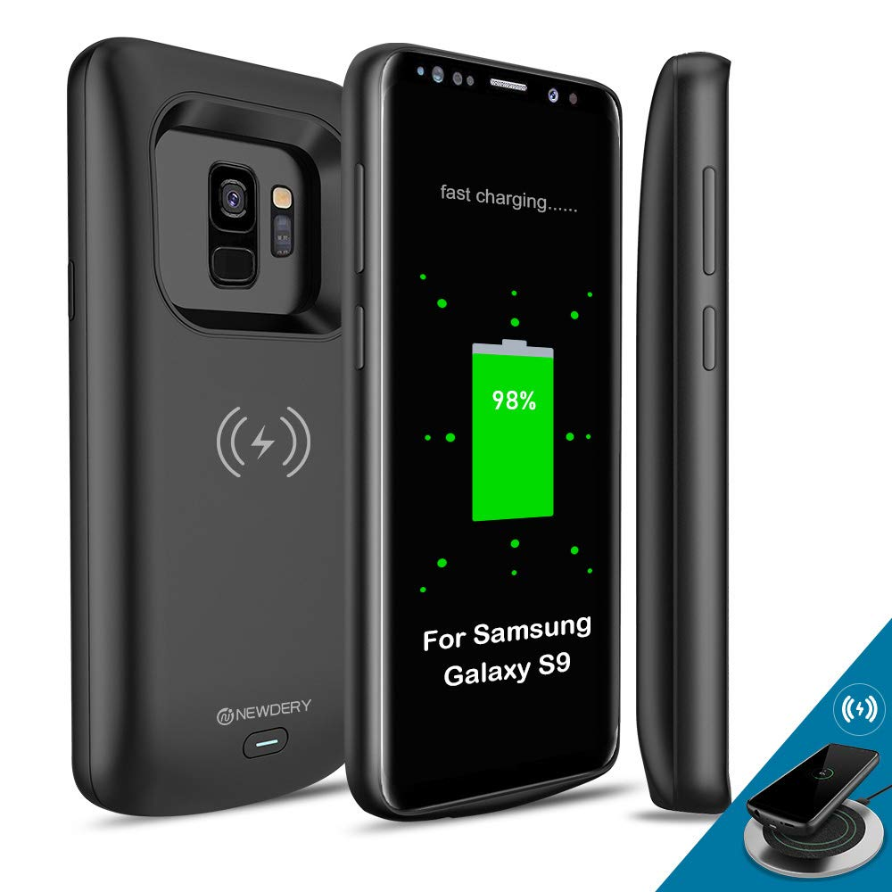 NEWDERY Upgraded Samsung Galaxy S9 Battery Case Qi Wireless Charging Compatible, 4700mAh Slim Rechargeable Extended Charger Case Compatible Samsung Galaxy S9 (5.8 Inches Black) by NEWDERY