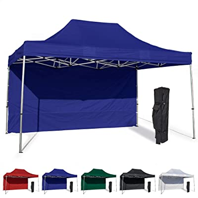 Vispronet 10x15 Instant Canopy Tent and Side Wall – Commercial Grade Steel Frame with Water-Resistant Canopy Top and Sidewall – Bonus Canopy Bag and Stake Kit Included (Blue) : Garden & Outdoor