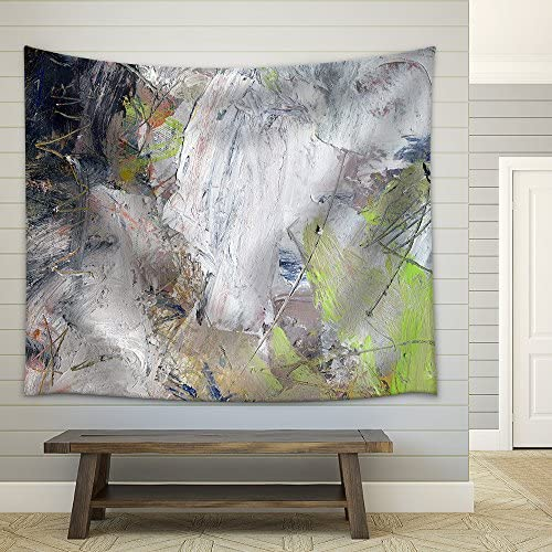 wall26 – Abstract Multicolor Layer Artwork, Opaque and Transparent Oil Paint Textures on Canvas – Fabric Wall Tapestry Home Decor – 68×80 inches