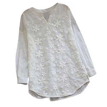 Blusas de Mujer,Modaworld Camiseta de Manga Larga con Cuello en v y Bordado