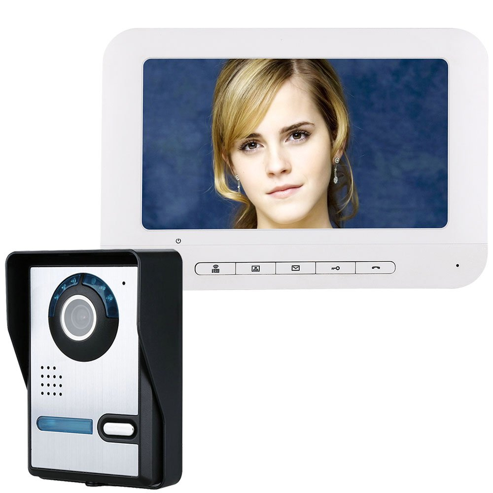 MAOTEWANG 7 Inch TFT Video Door Phone Doorbell Intercom Kit 1-Camera 1-Monitor Night Vision with IR-Cut HD 700TVL Camera