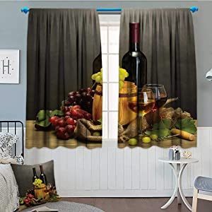 SeptSonne Winery Decor Blackout Window Curtain Barrel Customized Curtains 63