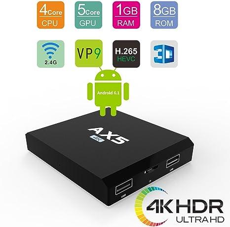 1 GB/8GB] Android 6.0 TV Box AX5 Amlogic S905 X Quad Core A53 apoyo 4 K 2 K H.265 2.4 g Wi-Fi 4 K Smart TV Box: Amazon.es: Electrónica