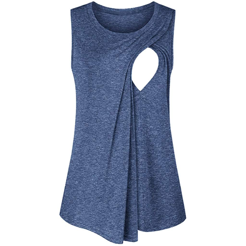 Womens Nursing Tanks Sleeveless O Neck Solid Side Ruched Layer Basic Vest Cami Shirt for Breastfeeding S-2XL