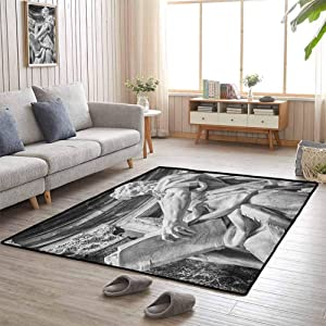 Decor Bedroom Rugs, Rubber Durable Non Slip Versatility, Warm and Cozy for Baby Nursery Decor, Sculptures | Statue of St. Matthew at Basilica of St. John Lateran Rome Cathedra with Pillars - 6'x9'
