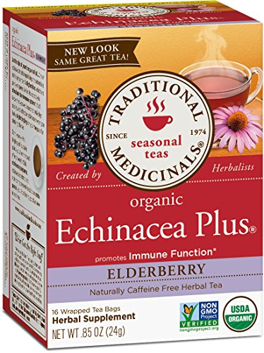 Traditional Medicinals Organic Echinacea Plus Elderberry Seasonal  Tea, 16 Tea Bags (Pack of 1)
