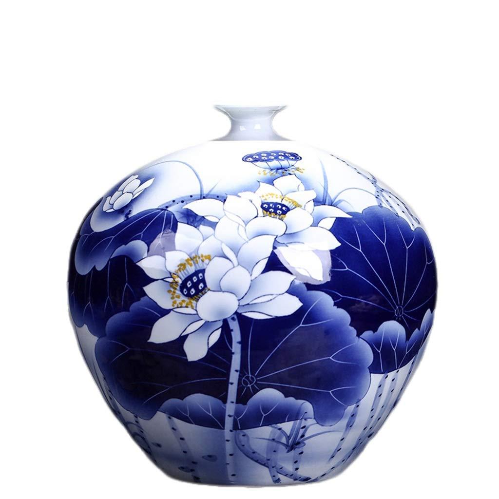 LIULIJUN 花瓶セラミック手描き青と白の磁器花瓶リビングルームテレビキャビネットホームデコレーション彫刻磁器装飾品 B07T8YJMD9