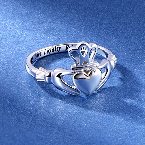 S925 Sterling Silver Love Loyalty Friendship Irish Ladies' Claddagh Ring (sterling-silver, 7) by Silver Light Jewelry (Image #3)