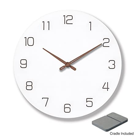 9 inch silent non-ticking wall clock made of natural and engineered wood also doubles as desk shelf clock with cradle Needle Hands
