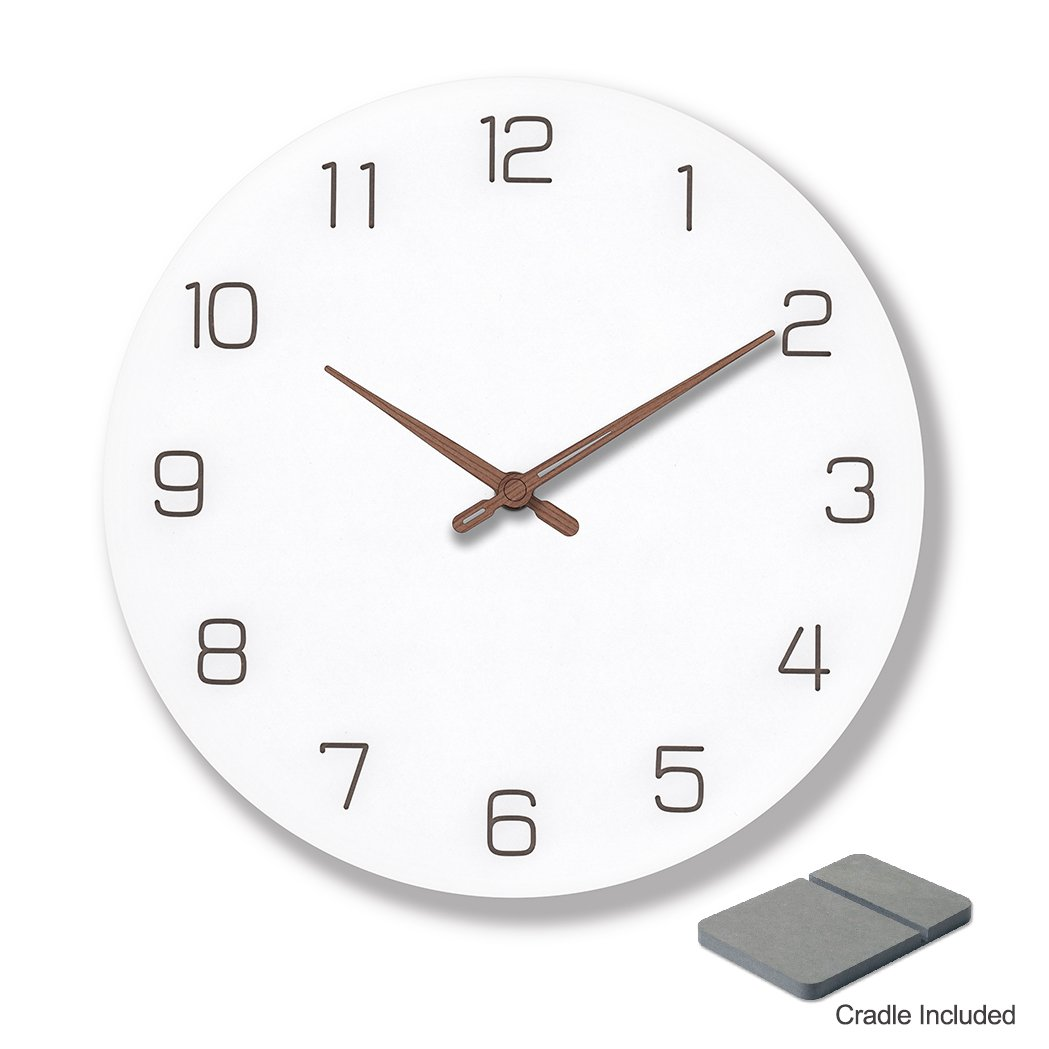 9 inch silent non-ticking wall clock made of natural and engineered wood also doubles as desk & shelf clock with cradle (Needle Hands)