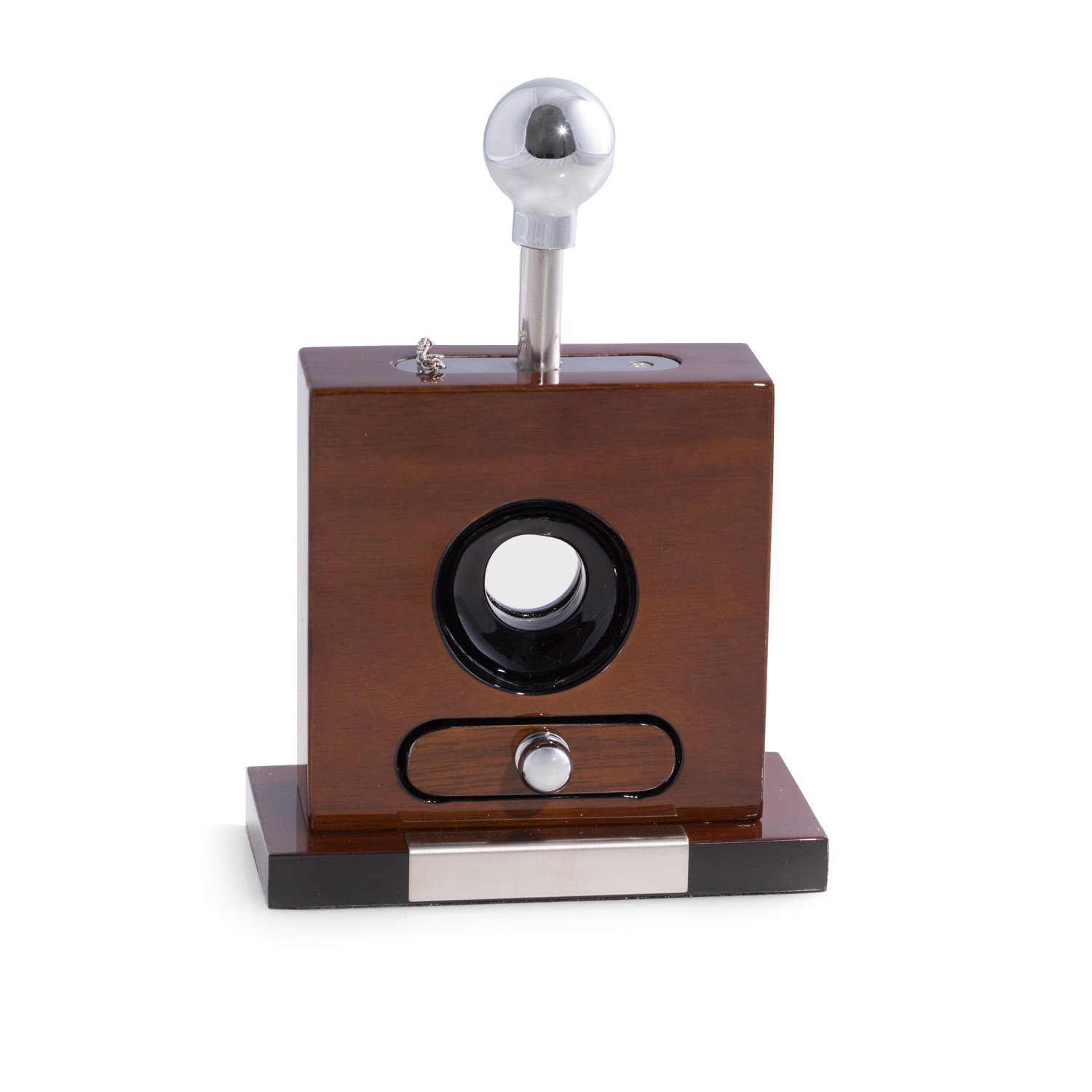 Bey-Berk AJ-C115 Lacquered ''Walnut'' Wood and Stainless Steel Table Top Guillotine Cigar Cutter with Drawer for Cuttings, Walnut