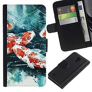 LECELL--Cuero de la tarjeta la carpeta del tirón Smartphone Slots Protección Holder For Samsung Galaxy S4 IV I9500 -- Pintura del cangrejo de río --