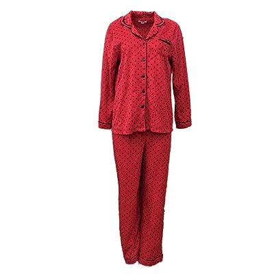Celestial Dreams Womens Red & Black Polka Dot Pajamas Fleece Pajama Sleep Set