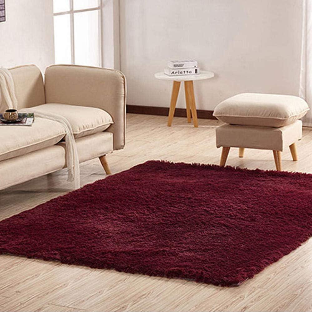LAMEDER Home Alfombra Interior,Alfombra de tapicería Suave, Alfombrilla roja Gruesa Antideslizante y Resistente al Desgaste Junto al sofá de salón Burdeos, 100 × 160 cm