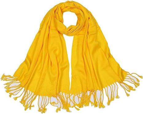 ZXXWJ Bufandas Mujer Bufandas Sólido Clásico Borlas De Algodón Chal Moda Otoño Invierno Cálido para Señoras, Amarilla: Amazon.es: Deportes y aire libre