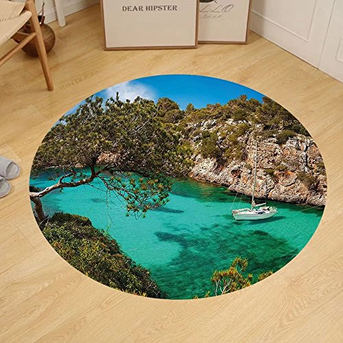 Gzhihine Custom round floor mat Nature Small Yacht Floating in Sea Majorca Spain Rocky Hills Forest Trees Scenic View Bedroom Living Room Dorm Green Aqua Blue by Gzhihine