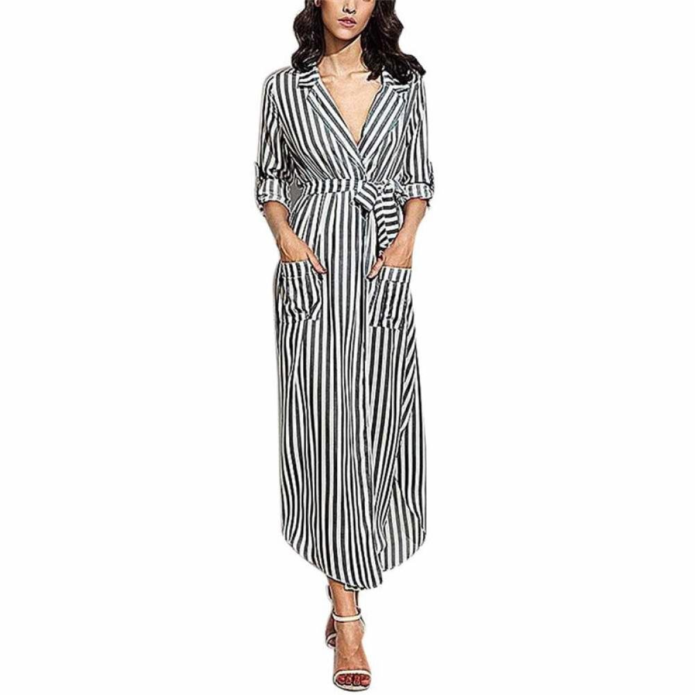 kaifongfu Womens Dress, Stripe Belted Deep V Neck Long Sleeve Top Blouse Long Maxi Dress (XL, Black)