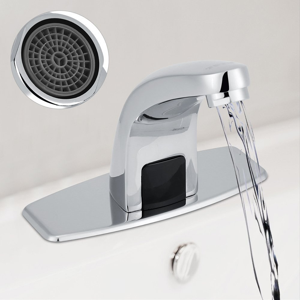 POMU Deck Mount Solid Brass Auto Sensor Bathroom Sink Faucet with Automatic Sensor Chrome Bath Tub Faucet Tub Faucets Polished Chrome