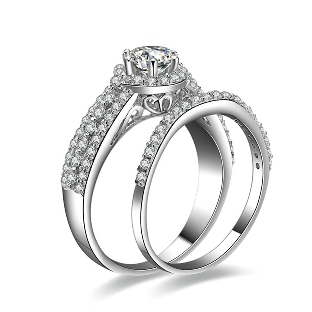 Bishilin Silver Plated Cubic Zirconia Inlaid Engagement Ring And Wedding Ring Set For Women Size 5