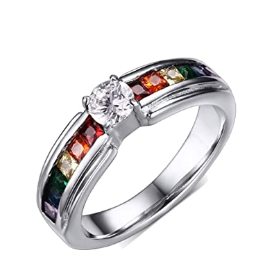 19c9d7ee34cd UM Joyería Cristal lesbiana Orgullo Arco iris anillos Acero inoxidable gay  Boda Banda  Amazon.es  Joyería