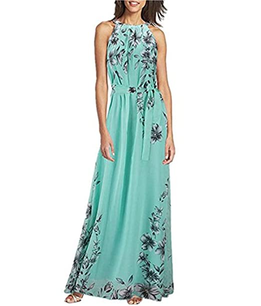 75a19e0344 Image Unavailable. Image not available for. Color  Baonmy Women s Plus Size  Casual Dresses Sleeveless Halter Neck Floral Print Summer Chiffon Maxi ...