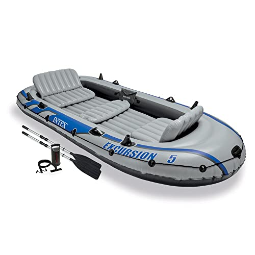 Intex Excursion 5, 5-Person Inflatable Boat Set with Aluminum Oars and High Output Air Pump
