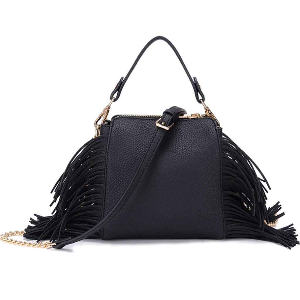 RXF Fringe Damen Handtasche, vielseitige Schulter Messenger Bag (Farbe     SCHWARZ, größe   S) B07HQJG8C9 Henkeltaschen Leitende Mode 86012e
