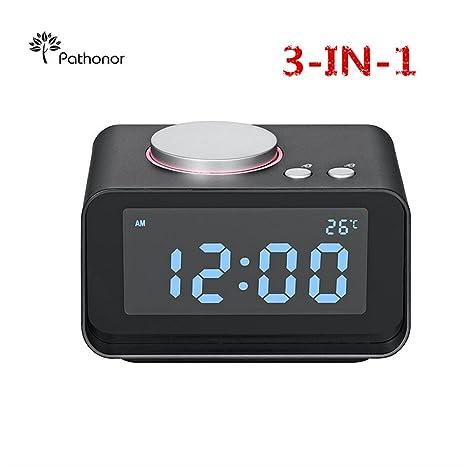 Reloj proyector FM LCD Digital, Pathonor Radio Despertador con Proyector/ Temperatura interior, Alarmas