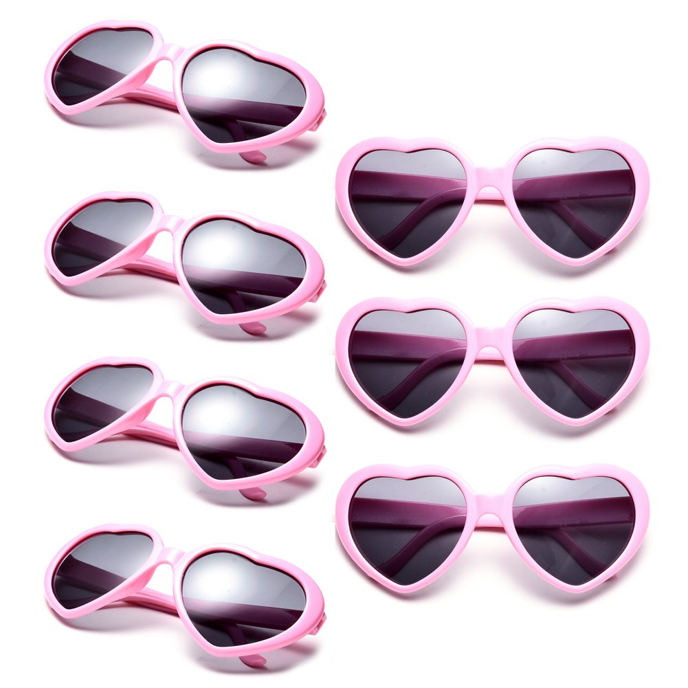 Neon Colors Party Favor Supplies Wholesale Heart Sunglasses (7 Pack Pink) by Pibupibu