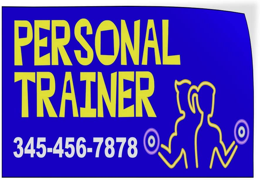 Custom Door Decals Vinyl Stickers Multiple Sizes Personal Trainer Phone Number Blue Health Care Personal Trainer Outdoor Luggage /& Bumper Stickers for Cars Blue 20X14Inches Set of 10