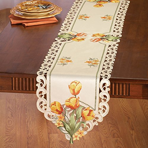 Embroidered Tiger Tulip Spring Table Linens, Runner