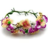 Satyam Kraft Adjustable Wooden Stick Floral Orchid Flower Tiara for Girls Floral Crown with Golden Bead/Valentine Tiara