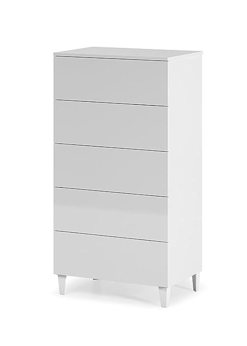 Sinfonier cómoda Loft de 5 cajones color blanco brillo estilo diseño nórdico de dormitorio, guías metálicas incluidas. 61 x 40 x 117