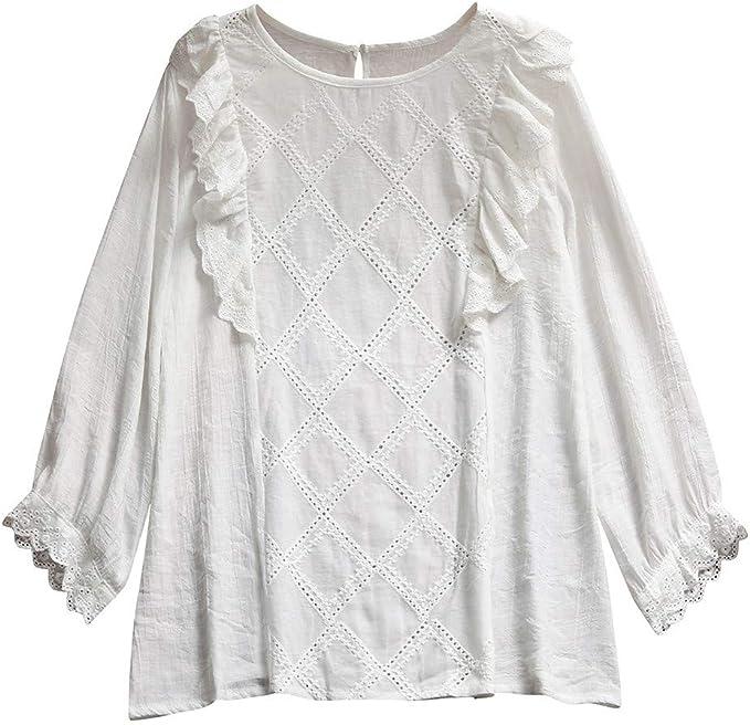 Camisetas Mujer Manga Larga Blanca 2019 Nuevo SHOBDW Moda Cuello Redondo Playa de Verano Lino Tops Blusa Casual Suelto Camisetas Mujer Tallas Grandes S-XXL: Amazon.es: Ropa y accesorios