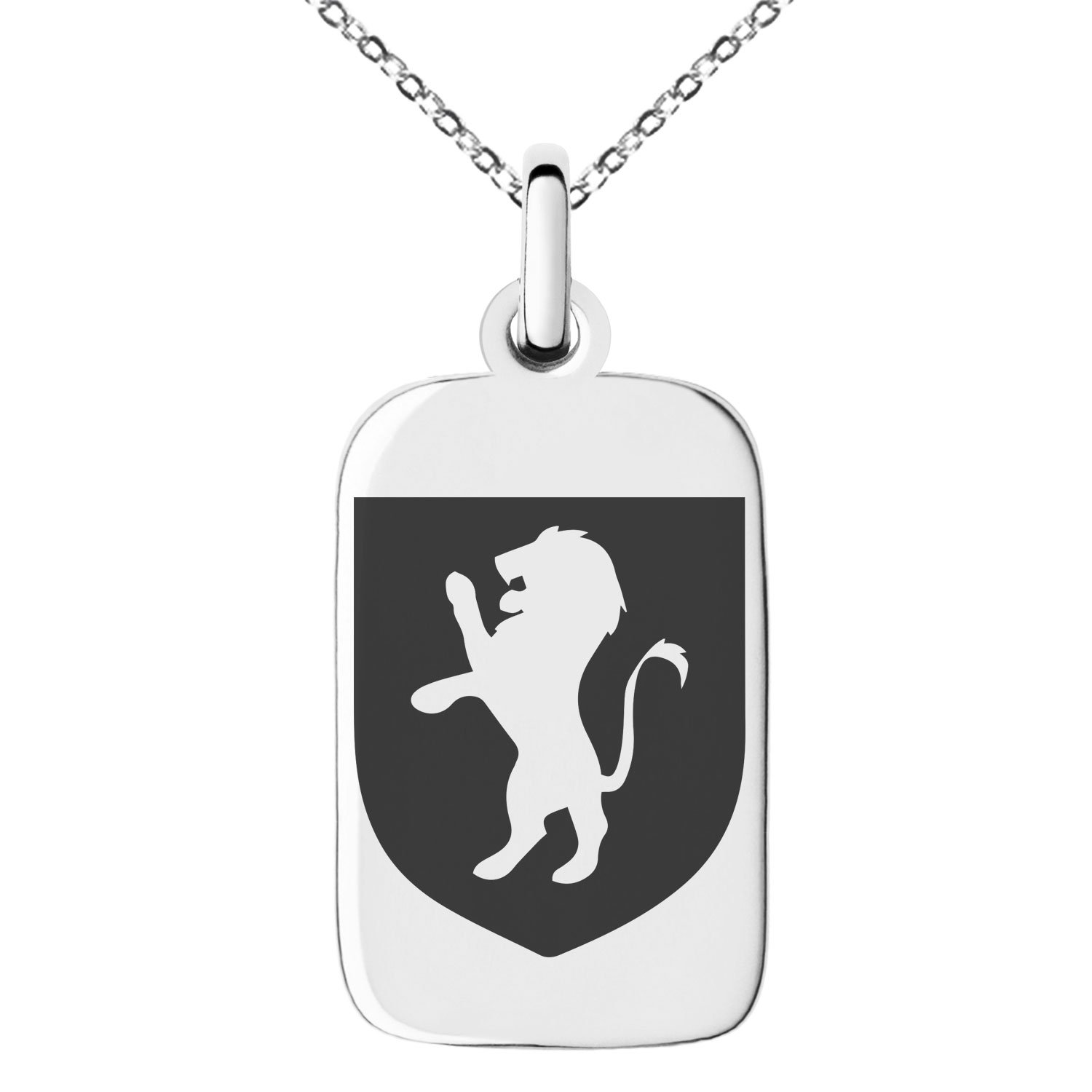 Stainless Steel Lion Courage Coat of Arms Shield Symbol Engraved Small Rectangle Dog Tag Charm Pendant Necklace