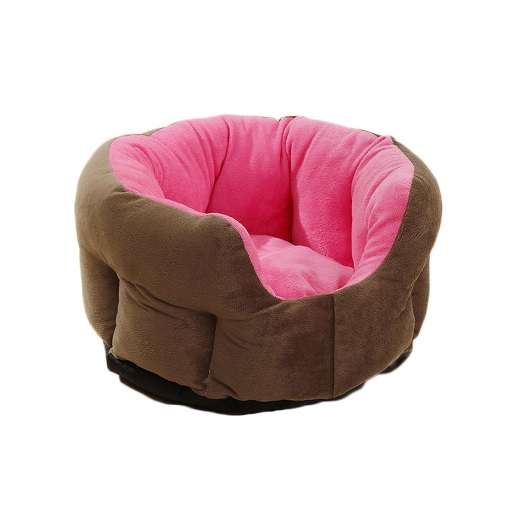 Pink(A) M Pink(A) M GCHOME dog bed Pet Bed Plush Cotton Waterproof Non-slip Four Seasons Universal Soft Comfortable Cool Breathable Double-sided Available (color   Pink(A), Size   M)