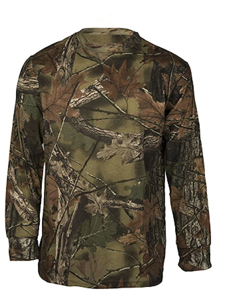 c13a658873df3 Highland Timber Camouflage * Cotton-poly blend. Ribbed neck. Minimum  shrinkage for a true fit after wash. Great hunting and camping tee.